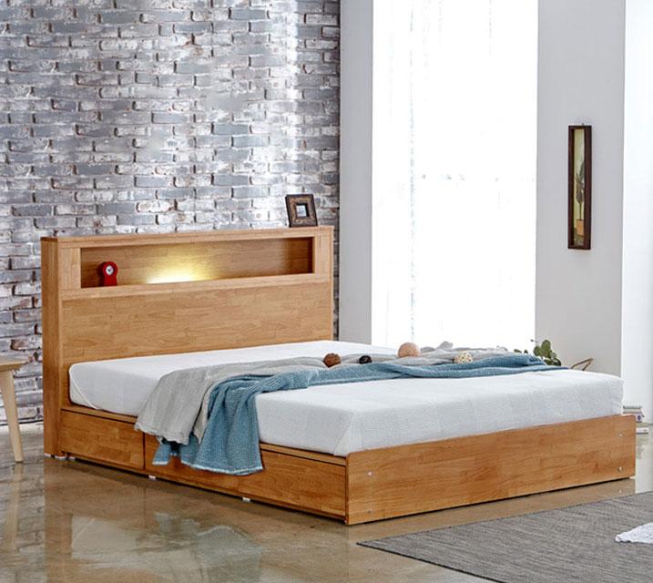 랄프 LED 원목 수납 퀸(Q) 침대 [독립 소프트폼 Q 포함] / 월 55,800원