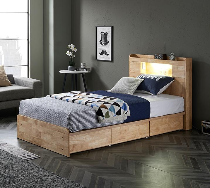 [L] 체리 고무나무 LED 3단 서랍 침대 슈퍼싱글 (SS) 침대세트 [ 2세대메모리폼매트리스포함 ] / 월 65,800원