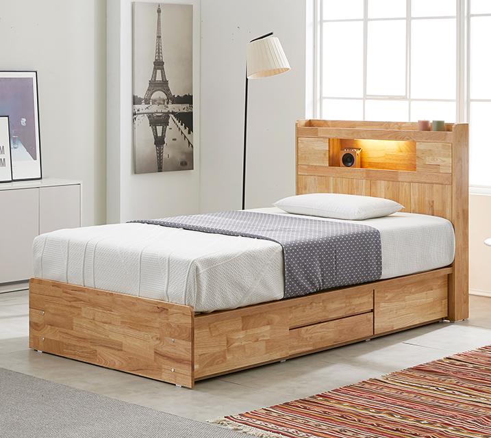 체리 고무나무 LED 4단 서랍 침대 슈퍼싱글 (SS) 침대세트[독립소프트폼 매트리스포함] / 월 61,800원