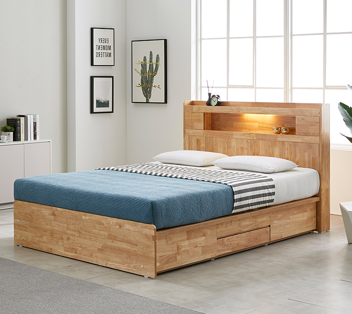 체리 고무나무 LED 4단 서랍 침대 (Q) 침대세트[독립소프트폼 매트리스포함] / 월 67,800원