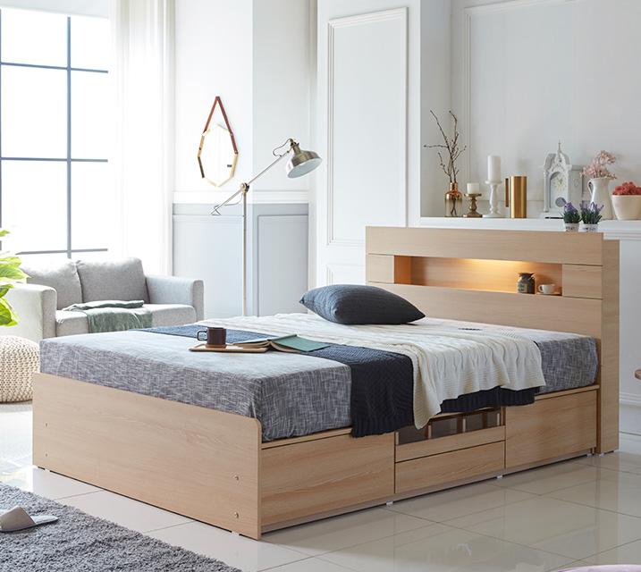 이리나 LED 4단 수납 침대 퀸 (Q) 침대세트 [독립소프트폼 매트리스포함] / 월 59,800원