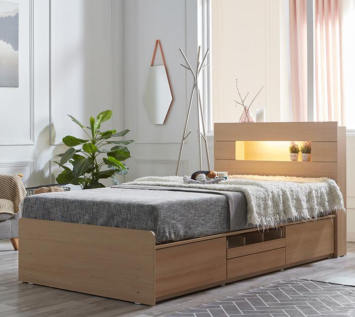 이리나 LED 4단 수납 침대 슈퍼싱글 (SS) 침대세트 [독립소프트폼 매트리스포함] / 월 53,800원