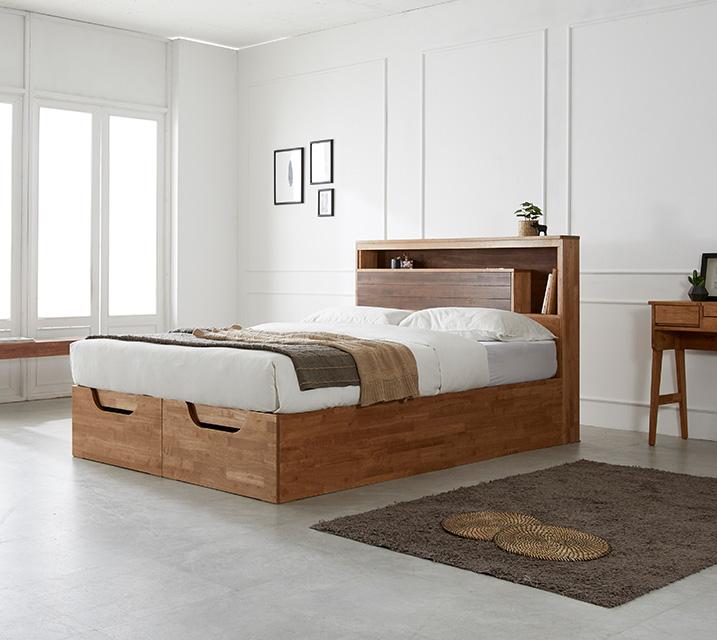 리썸 고무나무 크로코 리프트업 침대(Q) + 독립소프트폼 매트리스 포함 / 월 71,800원