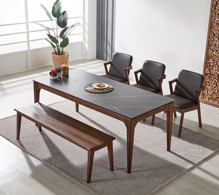 샤비 세라믹 4인 식탁세트 + 의자/벤치포함 (벤치형/벤치1ea+의자2ea)/ 월 51,800원